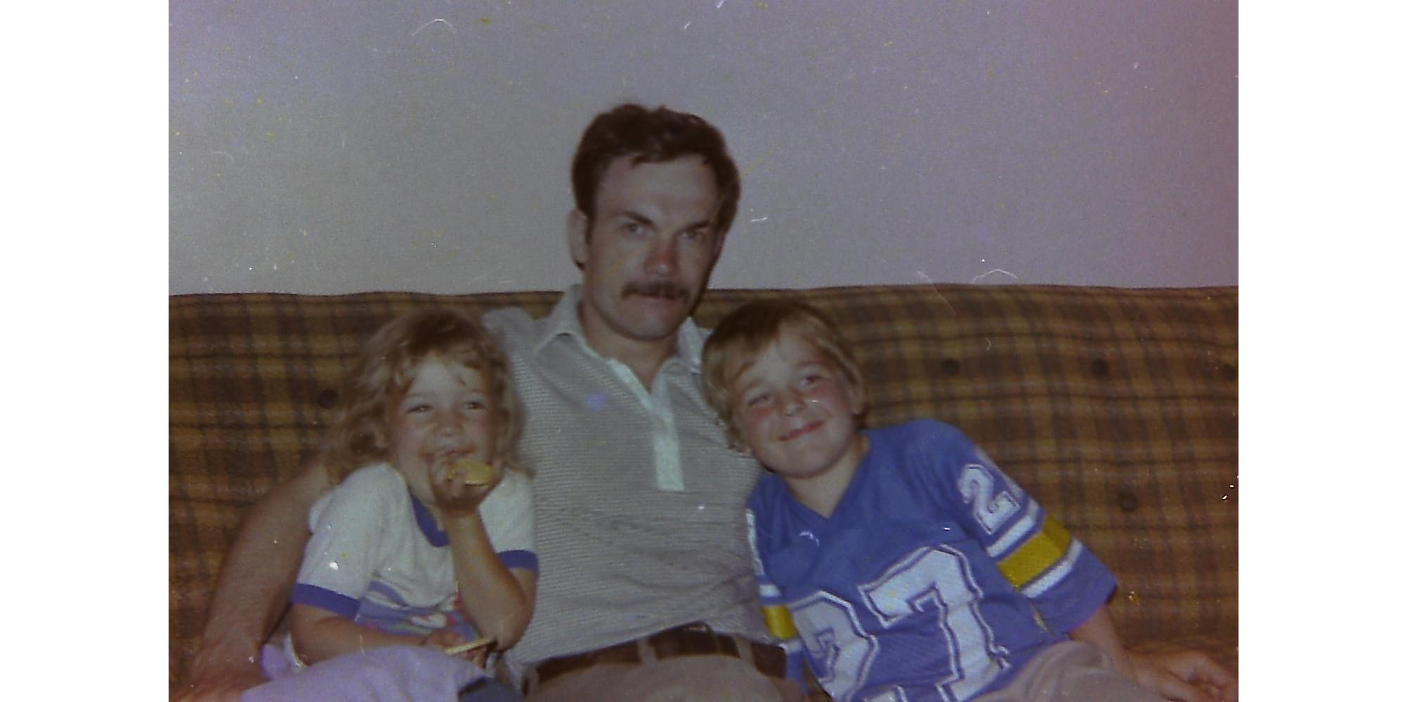 My father, sister, and I in 1985
